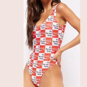 Coca Cola coke soda Checkered one piece swimsuit